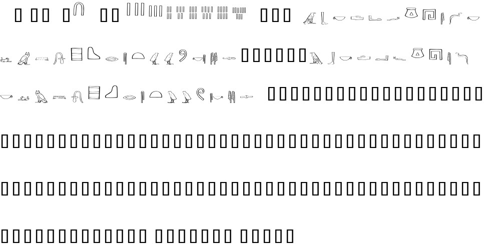 Ancient Egyptian Hieroglyphs free Font in ttf format for