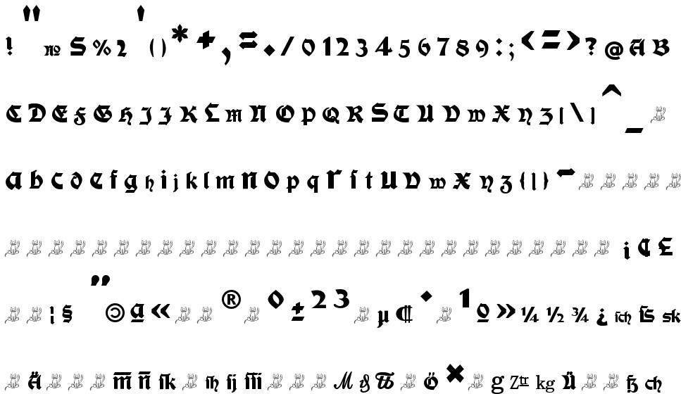 Moderne Fette Schwabacher free Font in ttf format for free