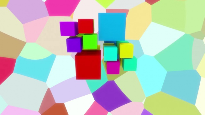 screensaver effect with colorful cubic boxes decor