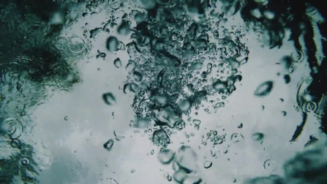 closeup of bubbles floating in water