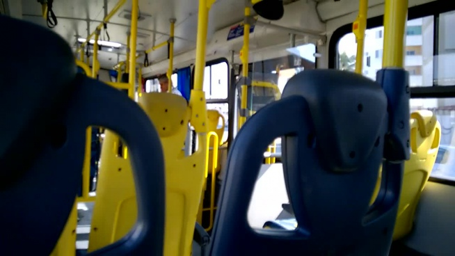 closeup of empty seats on bus