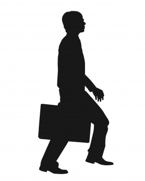 walking movement of businessman silhouette