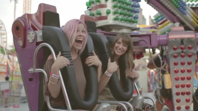 self video of excited friends in amusement park