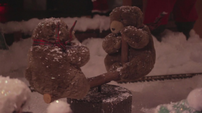 cute christmas decoration with teddy bears