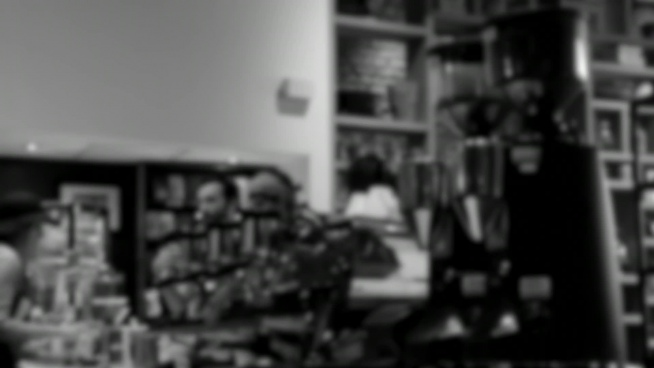 black white blurred clip of coffee shop activities