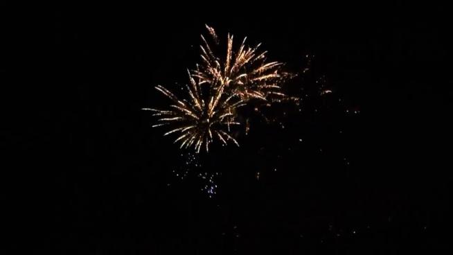 beautiful sparkling fireworks exploding on dark sky