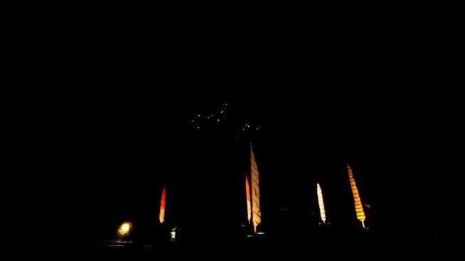 sparkling fireworks explosion on dark sky