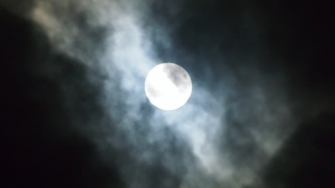 bright full moon on cloudy dark sky