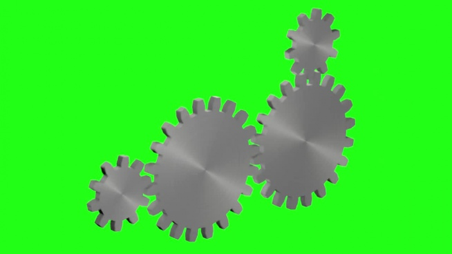 various gears turning on green background