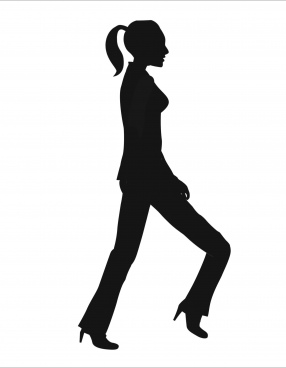 walking movement illustration of girl silhouette