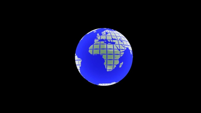 3d outline clip of globe and flat map