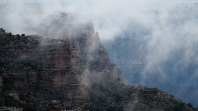 foggy landscape on high mountain scene