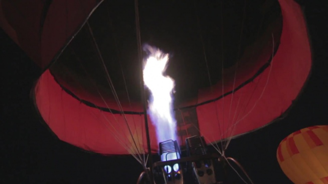 hot flame inside hot air balloon