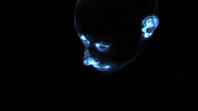 laser effect illustrating 3d human face