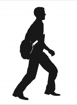 walking movement of hiker silhouette