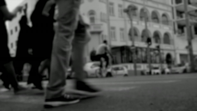 black white bokeh clip of hustle life of city