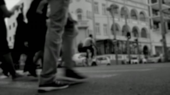 black white bokeh clip of hustle life of city