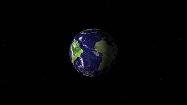 earth model moving in darkness