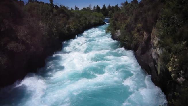 violent flow of wild stream