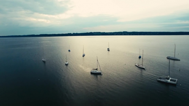 yachts on marina from high view
