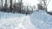 Snowy road in the park