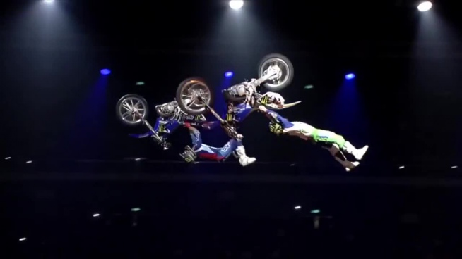 extreme acrobat performance with motorbike