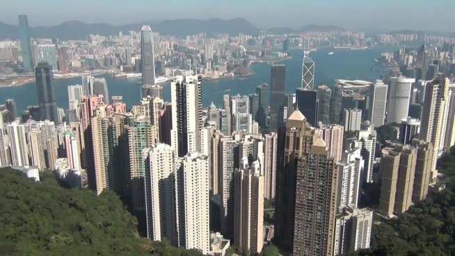 overview of modern city from mountain