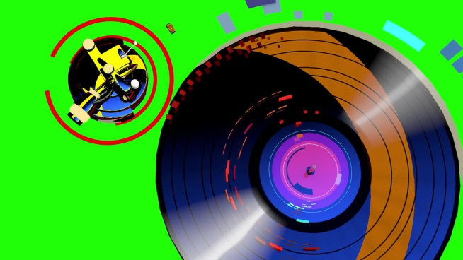colorful funny effect of musical disk movement