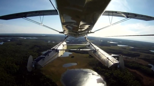 self video of beautiful scenery from seaplane view