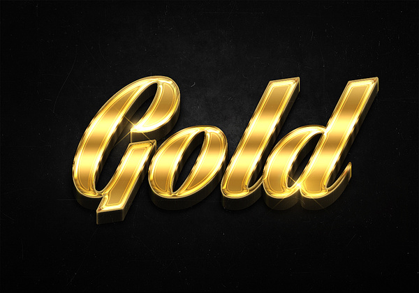100 3d shiny gold text effects preview
