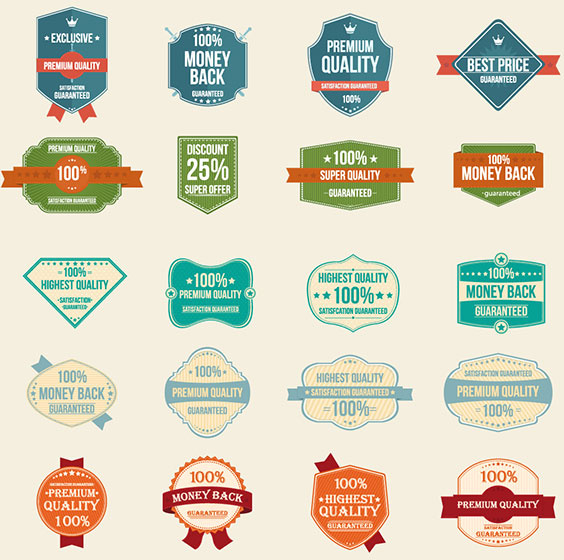 Vintage Premium Product Flat Badges Set: 100 Free Vector Vintage Badges Stickers Stamps Free Vector