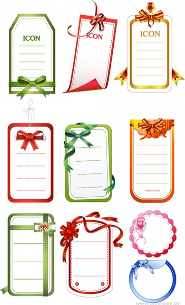10 cards with bow vector