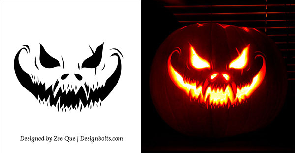 10 free scary halloween pumpkin carving patterns free for Evil pumpkin face template