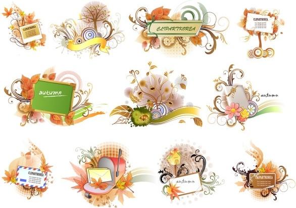 11 autumn theme vector