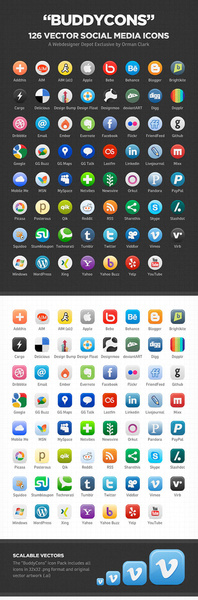 126 kind social media icons set