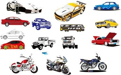 motorcycle and car models sets colored sketch