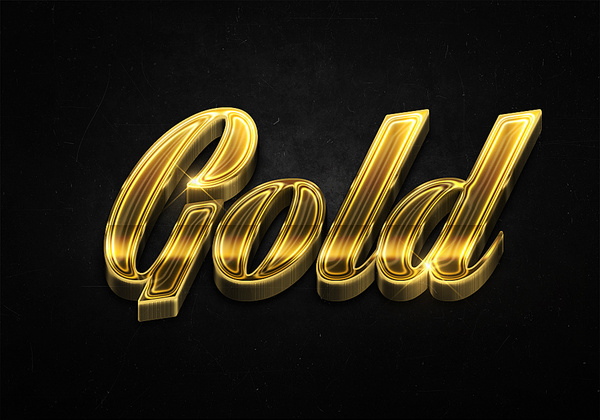 1 3d shiny gold text effects preview