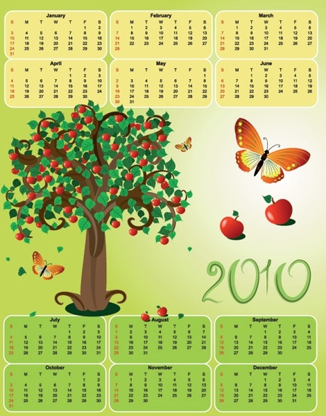 2010 apple theme calendar template vector butterfly