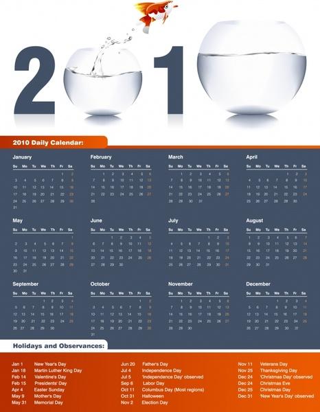 calendar template fish tanks icons decor modern design