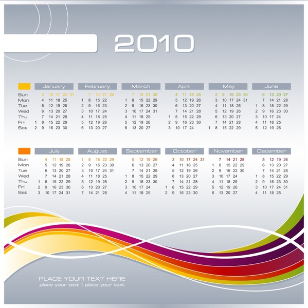 calendar template curves ornament abstract modern design