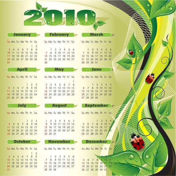 calendar template nature theme green leaves ladybug icons
