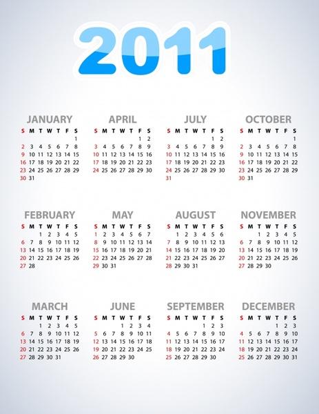 2011 calendar template modern bright simple design