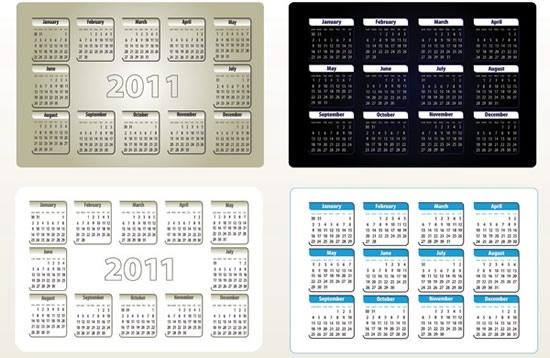 2011 calendar templates simple modern dark bright decor