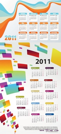 2011 calendar templates colorful modern curves rectangular decor