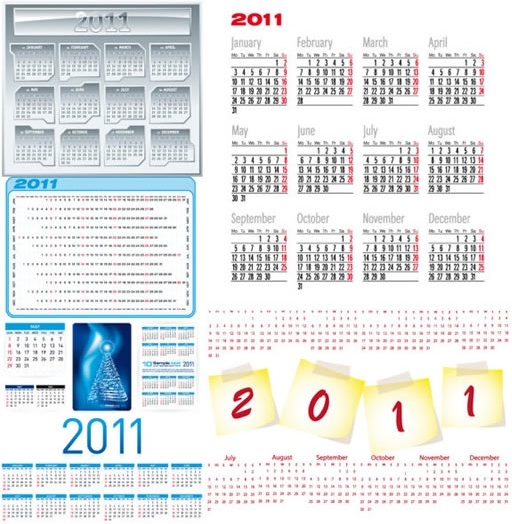 2011 calendar templates bright modern design