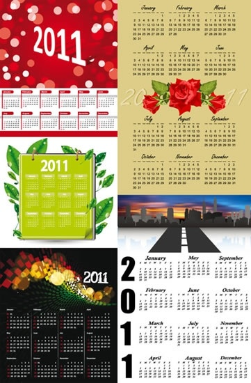 2011 calendar templates colorful modern classic design