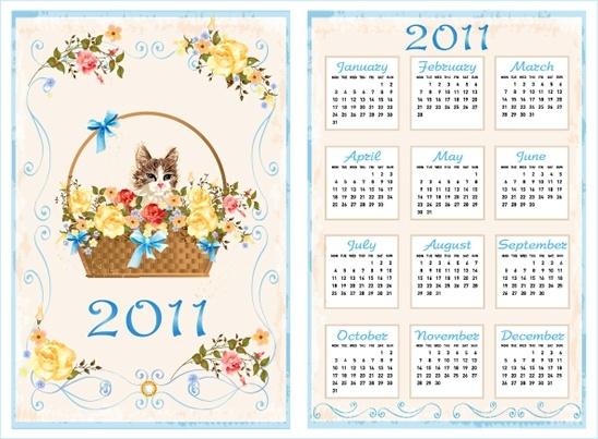 2011 calendar template cute kitty floral basket decor