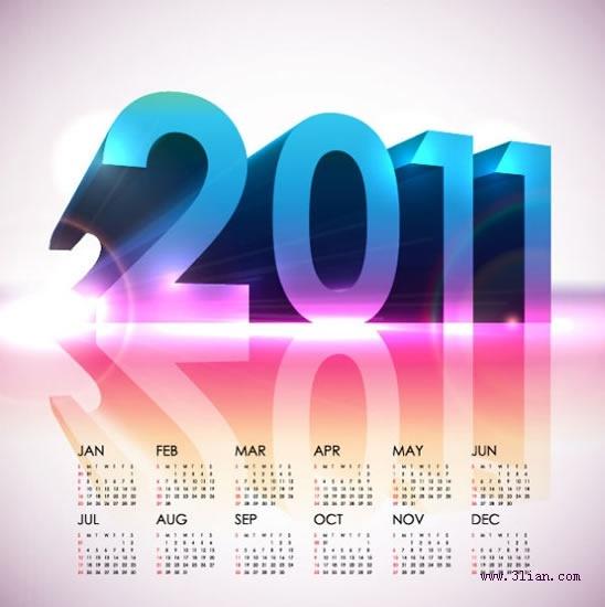 2011 calendar template modern shiny 3d reflection decor