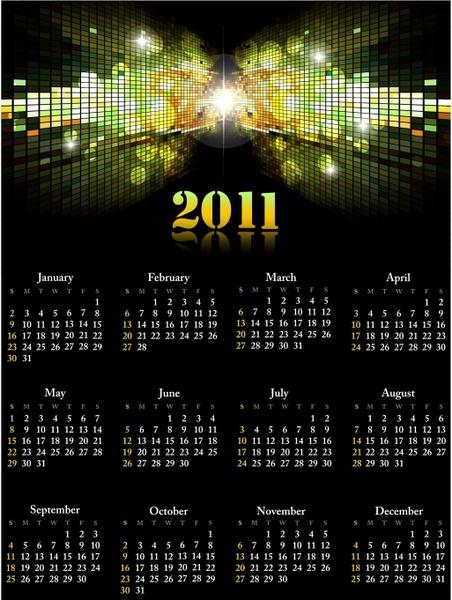 2011 calendar template shiny twinkling lights 3d reflection