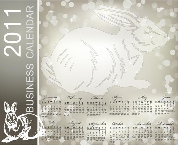 2011 calendar template rabbit icon grey bokeh decor